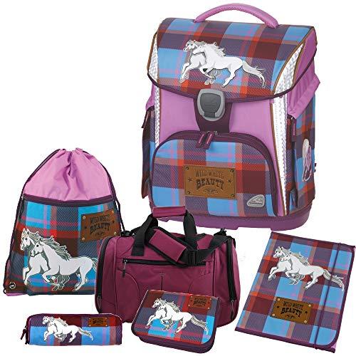 WILD White Beauty - Pferd - Schneiders LED-TOOLBAG Plus Schulranzen-Set 6tlg mit Sporttasche - HEFTMAPPE GRATIS DAZU