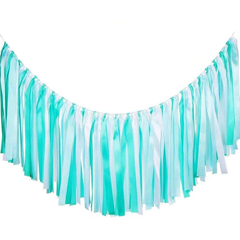 AZOWA Assembled Ribbon Tassel Garland Teal Blue Handmade Fabric Banner Fringe Hanging Decor for Wedding Nursery Photo Props Bridal Shower Party Garlands Decorations (40'' (L) X 14'' (H), Blue, White)