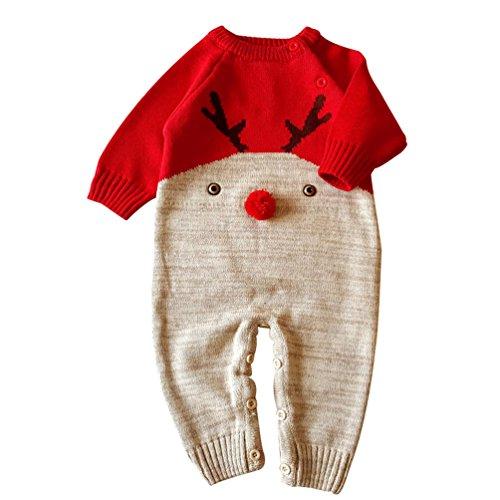 YuanDian Bambino Unisex Maglieria Tutine Pagliaccetto Neonato Natale Jumpsuit Rosso 68 (4-8Mesi)