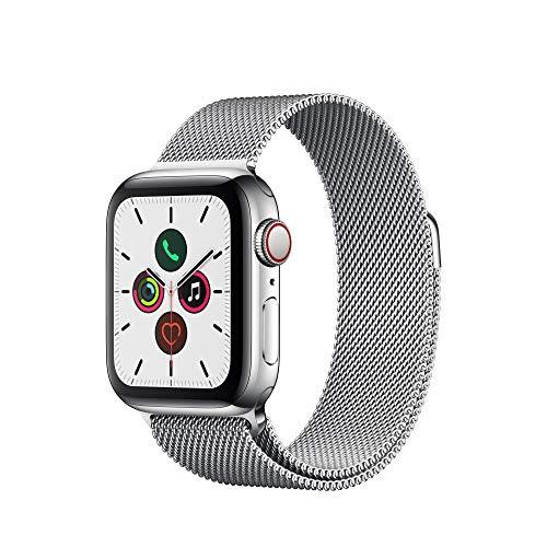 Apple Watch Series 5 (GPS+Cellular, 40 mm) Cassa in Acciaio Inossidabile e Loop in Maglia Milanese