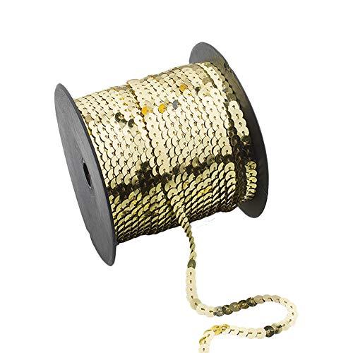 Demarkt Paillettenband, 90 Meter Langes, Farbiges Pailletten Band - 6 mm Breites Bortenband - Glänzende Paillettenbänder für Bastelprojekte, Tanzbekleidungen, 1 Volumen (Helles Gold)