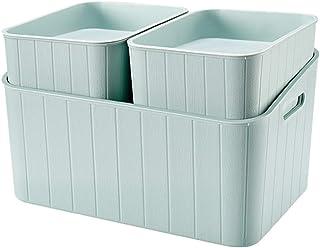Boîte de rangement XIAOXIAO Empilable Bureau Boîte De Stockage De Débris Ménage en Plastique Garde-Robe Couverte Boîte À J...