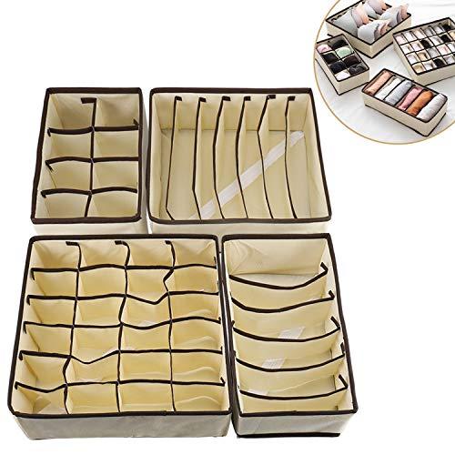 Qisiewell Aufbewahrungsbox Für Unterwäsche 4er Set Schubladen-Organizer Faltbox Stoffbox Für Kleiderschrankschubladen Unterhöschen Socken BHS (Beige)