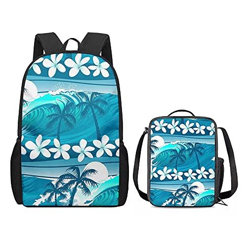 Amzbeauty - Set di zaino per la scuola (libro + borsa per il pranzo) leggero, personalizzabile e rimovibile, Onde hawaiane, Zaino