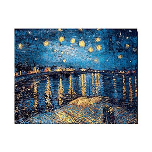 WSNDGWS Starry Night olieverfschilderij op de rivier de Rhône (replica) Vintage slaapkamer muurschilderingen geen fotolijst 50x70cm A5