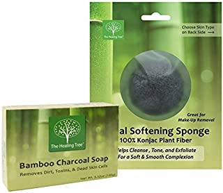 Bamboo Charcoal Soap + Konjac Facial Sponge | Cleansing Treatment for Acne Prone Skin | COMBO PACK