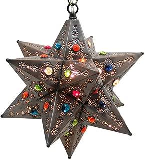 Fiesta Star Light Pendant, Bronze, Multi Colored Marbles 12 in