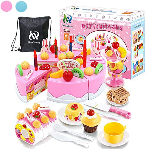 HenMerry 75PCS Birthday Cake Toy DIY Cutting Cake Play Set Kids Play Kitchen Food Pretend Play Cake Toy Best for Girls Birthday Party Gift ( 75PCS Pink)