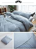 JRDTYS Protège Matelas,Anti-Acarien Hypoallergénique,Drap de lit Simple en Tricot de Coton Pur Coton-Bandes Blanc cassé_150 * 200+28 cm