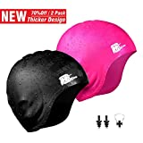 Wigoo Long Hair Swim Cap 2 Pack, 2019 Thicker Design, Waterproof Silicone Swimming Cap for Adult Woman and Men(Black+Pink)