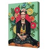 Frida Kahlo Impresión En Lienzo Pintura De Arte Para Dormitorio Sala De Estar Mujer En Un Fondo Verde Cuadro De Lienzo Póster De Frida Kahlo Decoración De Pared, Sin Marco,B,60×80cm