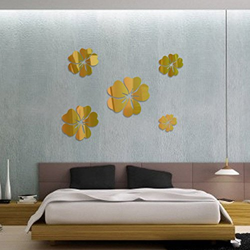 3D Mirror Floral Art Removable Wall Sticker Acrylic Mural Decal Home Room Decor, 3D Mirror Stereo Acrylic Wall Sticker