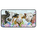 AGONA Anti Fatigue Kitchen Mat Watercolor Cows Animals Flowers Kitchen Rugs Non Slip Soft Standing Mats Absorbent Floor Mat Bath Rug Runner Area Rug Carpet for Home Decor Indoor Outdoor