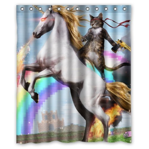 Funny Unicorn and cat Shower Curtain, Shower Rings Included 100prozent Polyester Waterproof 60