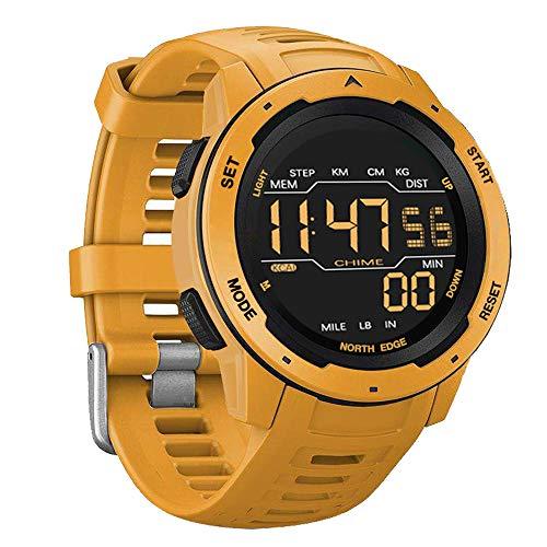 Herren Sport Smart Watch, 50M wasserdichte militärische Digitaluhr mit Stoppuhr Kalorien Schrittzähler Dual Time Luminous Mode Multifunktionsuhr,Gelb