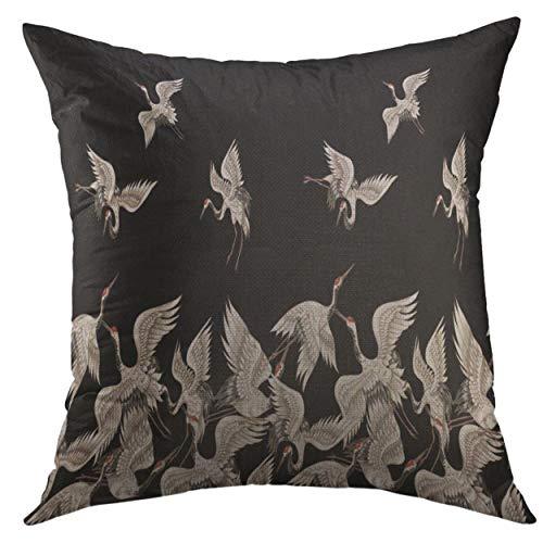 Funda de almohada decorativa para sofá, cama, decoración del hogar, diseño floral negro con grúas blancas japonesas en diferentes posturas F funda de almohada asiática roja: 45,7 x 45,7 cm