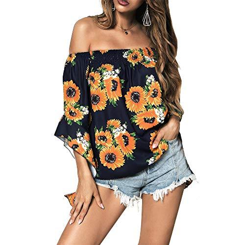 HARONAR Women's Off The Shoulder Top Cute Blouse Shirts Casual Loose Floral Pattern Purplish Blue