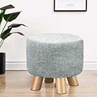 EXQUI Upholstered Stool Round Ottoman Pouffe Footstool with 4 Wooden Legs Small Change Shoes Stool F...