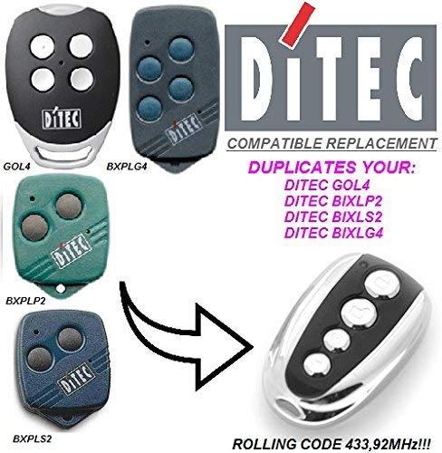 Ditec GOL4, Ditec BIXLG4, Ditec BIXLP2, Ditec BIXLS2 Control Remoto Transmisor Repuesto, Top Calidad Control Remoto