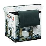 Relaxdays Faltbarer Sitzhocker 38 cm Stabiler Falthocker mit trendigen Motiven als praktische Fußablage als Sitzwürfel mit bedrucktem Kunstleder als Aufbewahrungsbox mit Stauraum und...
