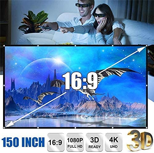 HGSDKECFS Portable Projection screenNew 3D HD Foldable 60/72/84/100/120/150Inch Projector Screen 16:9 Anti-Crease Projection Movies Screen for Home Outdoor