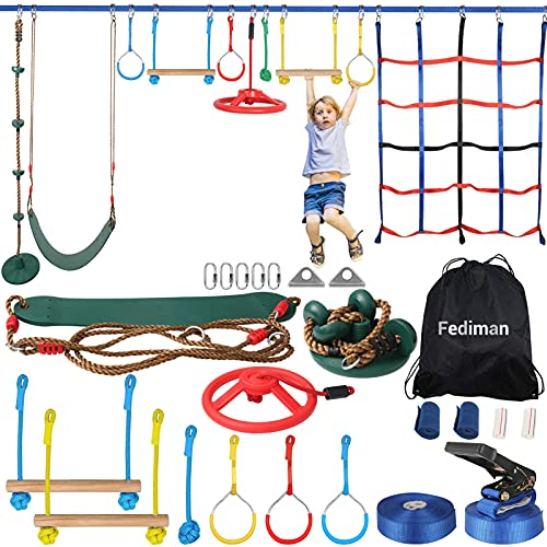 Ninja Warrior Obstacle Course for Kids, 65FT 400lb Ninja Line Slackline with 10 Obstacles, Ninja Course Backyard Outside Training Play Equipment with Climbing Net Swing Wheel Rope Ladder Monkey bar