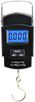 SHOPPOSTREET Plastic Electronic Balance Digital Hanging Luggage Fishing Hook Scale110 lb/50 Kg Backlit LCD Display Screen (Black)