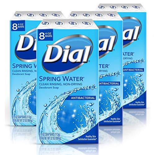 Dial Antibacterial Bar Soap, Spring Water-8 count(pack of 4)