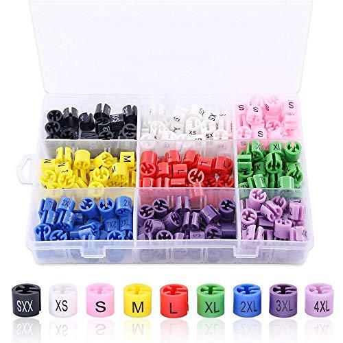 Hilitchi 540-Pcs [XXS - 4XL] Clothes Hanger Size Color-Coding Garment Size Markers Assortment Kit - 9 Size - with Storage Box
