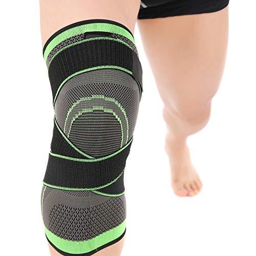 Verstellbare Kniepolster, 3D-Weber-Kniebandage, atmungsaktiv, elastisch, für Schmerzlinderung, Meniskusrisriss, Arthritis, Kniebandage zum Laufen, Basketball-M/L/XL/2XL/3XL-Single, grün