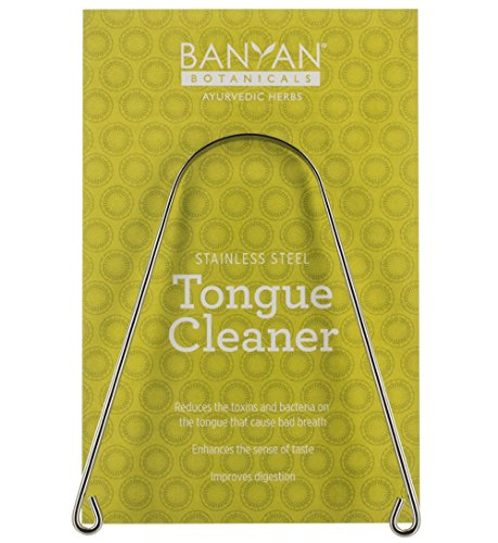 Banyan Botanicals Tongue Cleaner – Stainless Steel Tongue Scraper – Oral Hygiene Practice for Fresh Breath, a Clean Tongue, Improved Taste & Toxin & Bacteria Removal – Long Lasting – Made in The USA