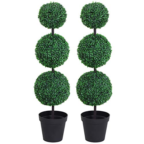 Outsunny Set of 2 Artificial Boxwood Ball Topiary Trees Potted Decorative Plant Outdoor and Indoor...