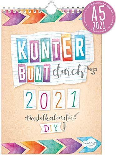 A5+ Bastelkalender 2021 [Kunterbunt] von Trendstuff by Häfft | Fotokalender, DIY-Kalender, Kreativ-Kalender, Geburtstags-Kalender zum Selbstgestalten - mach deinen Liebsten eine Freude!