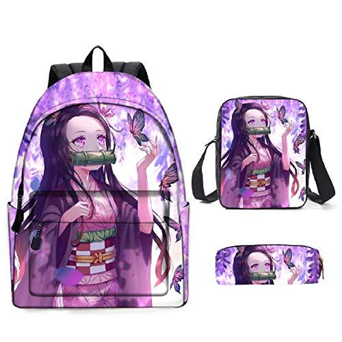 ZBK Juego de mochila escolar con diseño de anime demon Slayer con bolsa de hombro y estuche para niños y niñas, 14 colores