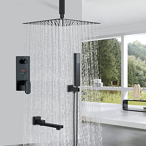 Conjunto de ducha negro con columna de ducha empotrable con cabezal de ducha de 25 x 25 cm, ducha mezcladora de cascada con tecnología de inyección de aire avanzada oculta montado en el techo.