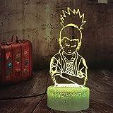 LED 3D Night LightAnime Action Nara ShikamaruUSB Habitación Dormitorio Acrílico Regalos Niños Mesita de noche Bebé Cumpleaños Luz Decoración-16 colors remote