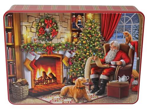 Bramble Foods Lata de metal de Papá Noel en la chimenea en relieve decorado con una variedad de galletas inglesas - 1 x 300 gramos