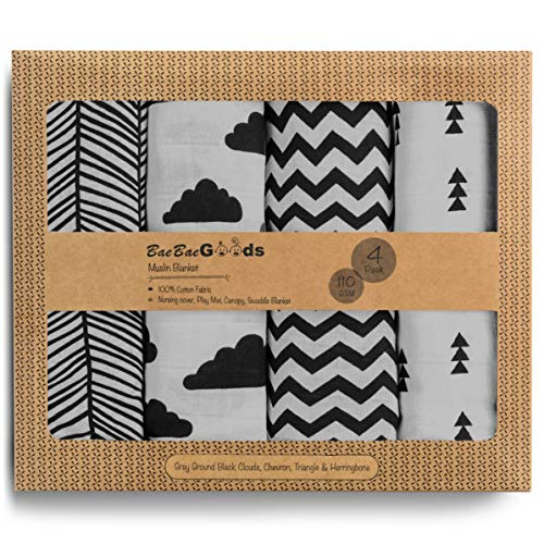 Muslin Swaddle Blankets – Soft Pure Cotton Muslin Blankets – 4 Pack of Breathable Swaddle Blankets – Unisex Baby Swaddle Blanket in Grey Black Designs – Multi Use Muslin Blankets – 47 x 47 inches