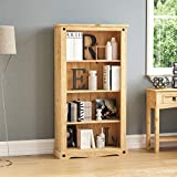 Vida Designs Corona Medium Bookcase Solid Distressed Waxed Pine