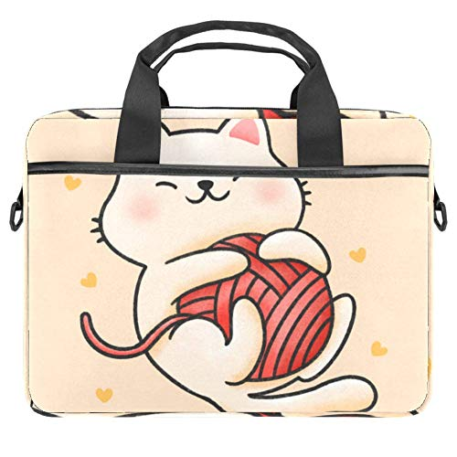 Funny Cat Playing with Yarn 14 Inch Laptop Sleeve Case Messenger Shoulder Bag Padded Nylon Shockproof Waterproof Briefcase for 13.4-14.5 Inch Notebook