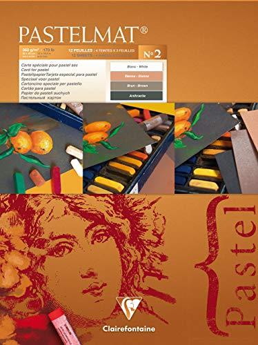 Clairefontaine 96008C Zeichenblock Pastelmat (12 Blatt, 30 x 40 cm, 360 g, mit 4 transparenten Trennblättern, Spezielkarton ideal fur Pastell und Kreide) braun, anthrazit, weiß und hellbraun