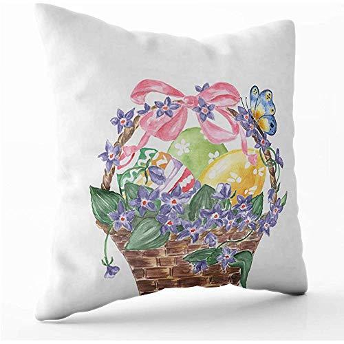 WHEYT Fodera per Cuscino Federe 40 x 40 cm Fodera per Cuscino Cestino di Vimini con Uova di Pasqua e Violette Acquerello Farfalla Pasquale isolata