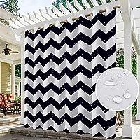 パティオカーテン屋外防水ストライプ装飾沿岸パネル、カーテン断熱シングルパネルグロメットトップ遮光耐性カーテンシェード (Color : A, サイズ : W264XH183CM)