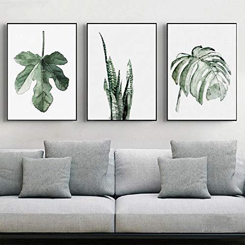 cuadros juveniles dormitorio chico Un conjunto de tres pinturas, patrones de plantas, decoración de la sala de estar del pasillo. Pintura sin marco_15X20CM cuadros para dormitorios infantiles