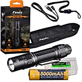 Fenix PD36 TAC 3000 Lumen LED Tactical Flashlight, Battery and Holster with EdisonBright Battery Carrying case