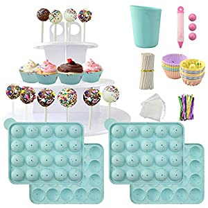 Cake Pop Maker Set Including Silicone Lollipop Molds, 3 Tier Display Stand, Silicone Cupcake Molds, Chocolate Candy Melting Pot, Lollipop Sticks, Decorating Pen, Bags and Twist Ties (Bleached Aqua) from