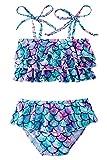 Mermaid Girls Bikini Swimsuit Baby Girls Beach Swimwear Flounce Summer Girls Bikini Blue Purple Fish Scale Cute Girls' Bikini Sets 2-Piece Girls Swimsuit for 7-8 Years Old