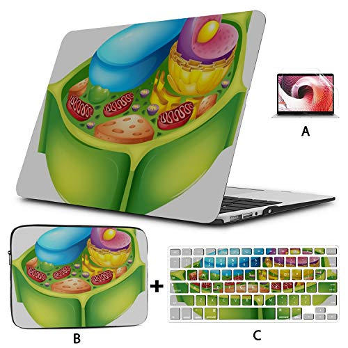 MacBook Pro Retina Case Green Plant Cell Biology Microscope MacBook Air Laptop Cover Hard Shell Mac Air 11'/13' Pro 13'/15'/16' with Notebook Sleeve Bag for MacBook 2008-2020 Version