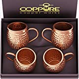 COPPure Moscow Mule Copper Mugs Set of 4 - Pure 100% Solid Hammered,...