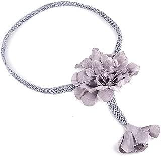 SGJFZD Women's Belt Fashionable Wild Handmade Wax Rope Weave Ethnic Style Big Flower Simple Waist Chain Dress Belt (Color : Grey)